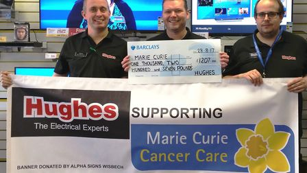 Stephen Holt, David Youngs and Adam Gray from Wisbech raised more than £1,000 for Marie Curie Cancer