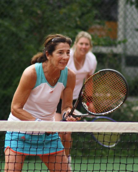Linda Freedman and Marie Martindale on their way to the ladies doubles title at Potters Bar Tennis C