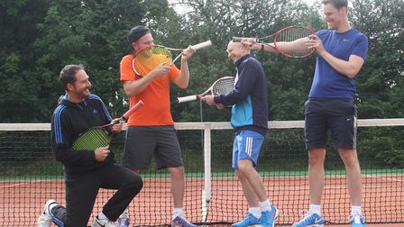 Paul Guppy, Stephen Euesden, Mark Masters and Paul Holman have fun before the mens' doubles at Potte