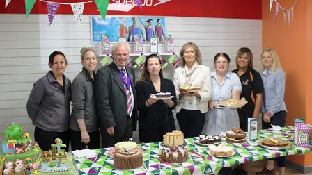 Pictured at The Great Hudson Bake Off are, from left, leisure centre staff members Tracy Pearson and