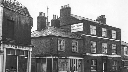 The Royal Exchange Hotel, Wisbech, shown in a photograph from Rogers presentation at Wisbech Grammar