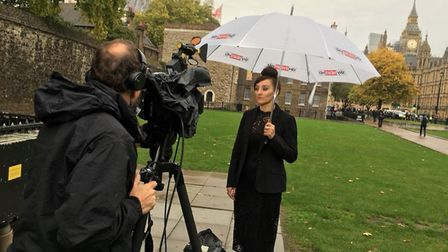 Sling the Mesh campaigner and Cambs Times journalist being interviewed near the Commons by Sky TV. P