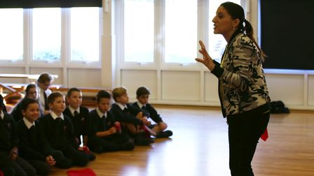 ChrissyB from the ChrissyB show teaches the year six pupils from Brookmans Park School the Sky menta