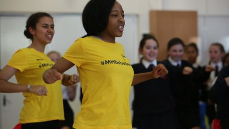ChrissyB from the ChrissyB show and her dance crew teach the year six pupils from Brookmans Park Sch