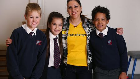 ChrissyB from the ChrissyB show on Sky channel 203 with Brookmans Park School year six pupils (L-R)