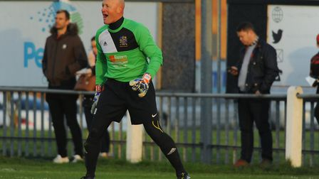 Wisbech goalkeeper Paul Bastock during his record breaking 1,250th appearance. Picture: DENISE BRADL