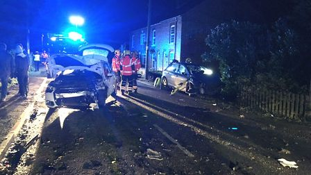 Woman cut from car after two-vehicle collision on Fridaybridge Road, Elm