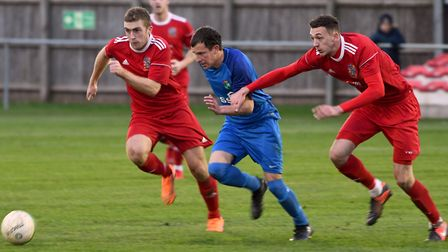 Action from Wisbech Town's 3-0 win over Kirby Muxloe. Photo: Ian Carter