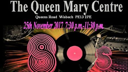 80s disco at Queen Mary Centre Wisbech to help homelessness charity the Ferry Project