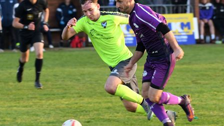 Action from Wisbech St Mary's 4-1 FA Vase defeat to Norwich CBS. Photo: Ian Carter