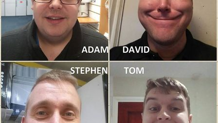 The team from Hughes in Wisbech taking part in Movember are David Youngs, Stephen Holt, Adam Gray an
