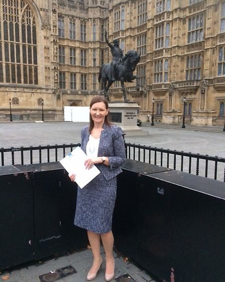 Commonswood Primary and Nursery School headteacher Gill Seymour outside the Houses of Parliament.