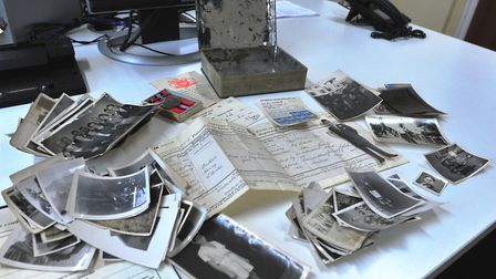 The biscuit tin found in a Wisbech attic containing war memorabilia and photographs. PHOTO: Harry Ru