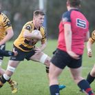 Ely Tigers V Wisbech - John Dibb looks for a way past (Wisbech) - PHOTO: Steve Wells