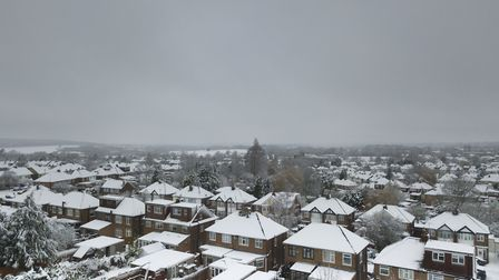 A bird's eye view of Potters Bar in the snow on Sunday, December 10, taken from a drone. Picture: D