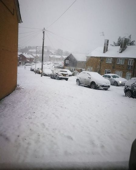 Chace Avenue, Potters Bar, covered in snow.