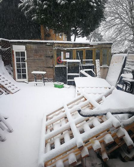 Matt Dickins' back garden in Chace Avenue, Potters Bar, covered in snow.