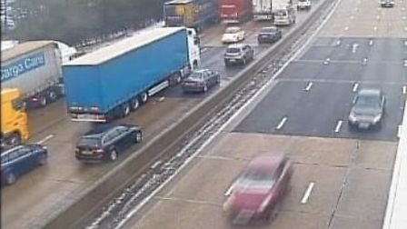 Traffic on the M25 carriageway near Potters Bar. Picture credit: Highways England.