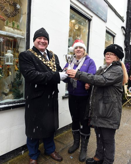 Wisbech Best Christmas Window 2017 - Winner (left to right) Steve Tierney, Sarah Streets and Sharon