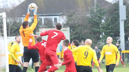 Action from Wisbech Town's 2-0 FA Vase win over Racing Club Warwick. Photo: Karen Ball