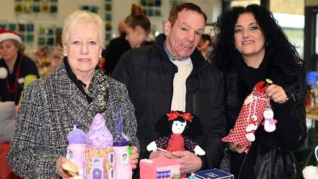Meadowgate Christmas Fair: left to right Marie Arlott, Les Western and Donna Roberts