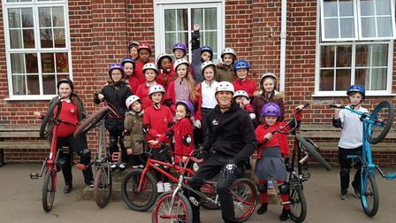 Mike Mullen, of the BMX Academy, visited Holwell Primary School in Welwyn Garden City. Picture: Ho