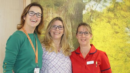 Inspirational women beat breast cancer. Emma Matthews (centre) was treated at the Queen Elizabeth H