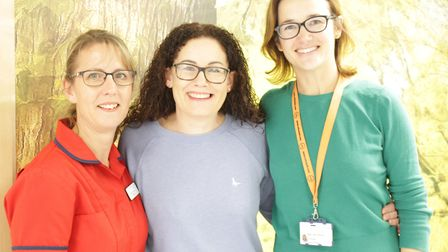 Inspirational women beat breast cancer. Lucy Drew and Elaine Rudd with Amy Burger at the Queen Eliza