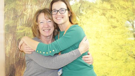 Inspirational women beat breast cancer. Eileen Smedmor seen here with Amy Burger at the Queen Elizab