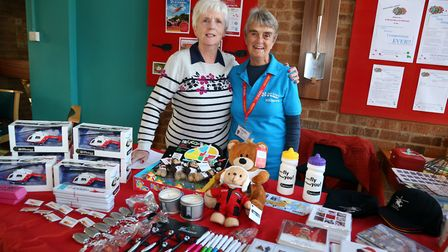 Angela Meaden, Kay Heap on the Air Ambulance stall. Picture: Kevin Lines
