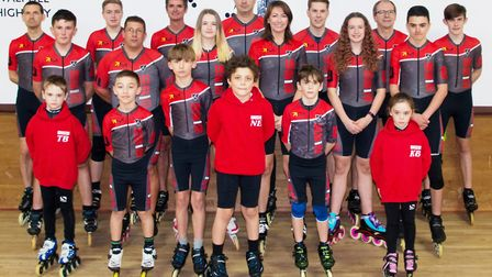 The Wisbech Speed Skating team - Left to right, Back row: David Billington, Dylan Taylor, Mike McIne