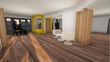 A digital mockup of what Marshland Hall will look like inside.