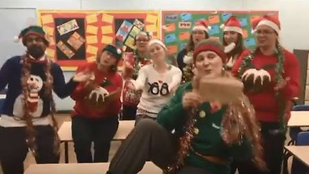 The video featured a record cast of 62 school staff. Picture: YouTube
