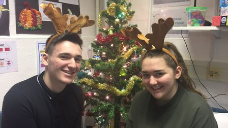 James Atkins and Lilly O''Keefe who directed and edited the staff Christmas video. Picture: Stanboro