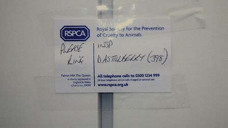 A card left at the address by an RSPCA inspector. Picture RSPCA