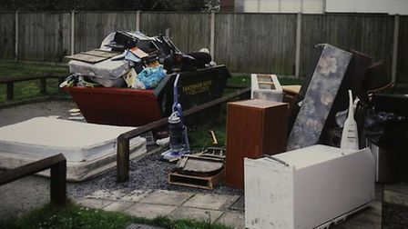 Belongings piled up outside the house. Picture RSPCA