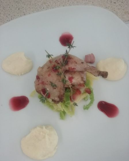 Yasmin Bedford's quail witth parsnip puree, blackberry jus and savoy cabbage with pancetta. Picture: