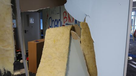 The damage caused to the Hatfield community hub in Beaconsfield Court. Picture: Welwyn Hatfield Time