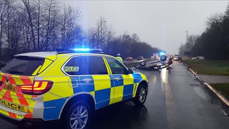 The scene of the crash on the A414 between Smallford and Hatfield.