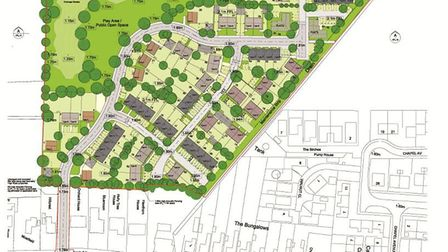 80 new homes proposed for land off High Road, Wisbech St Mary , Cambs. Site layout shown