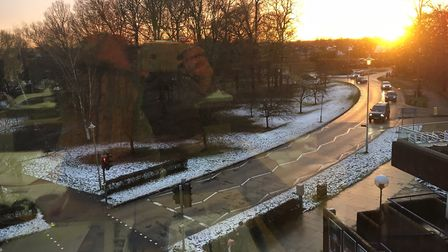 Welwyn Garden City's melting snow late in the afternoon. Picture: Mia Jankowicz