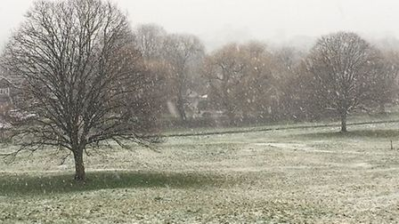 The snow in Redbourn this afternoon. Picture: Supplied.