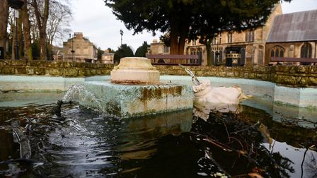 Vandals attacked the fountain in St Peter's Church gardens, Wisbech.