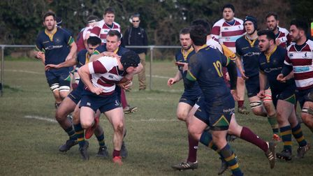 Henry Fee looks to break through for Welwyn. Picture: Kevin Lines