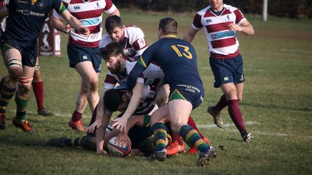 Andy Hutt has to clear out for Kilburn as Welwyn look to steal the ball at a ruck. Picture: Kevin Li