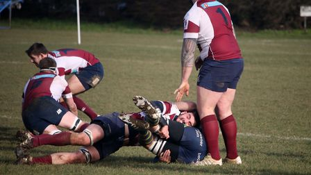 David Francis finishes his tackle as Will Freeston looks on. Picture: Kevin Lines