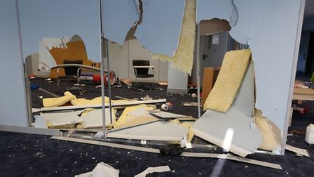 The damage caused to the Hatfield community hub in Beaconsfield Court. Picture: Supplied.