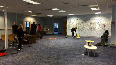 The clean up of Hatfield community hub in Beaconsfield Court. Picture: Supplied.