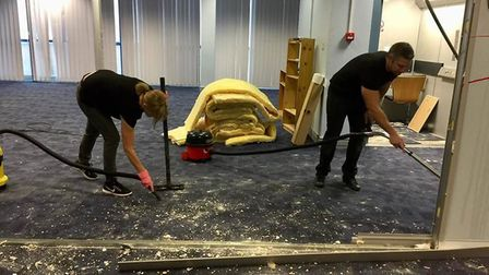 The team fixing the damage caused to the Hatfield community hub in Beaconsfield Court. Picture: Supp
