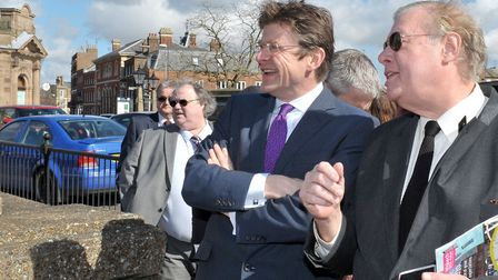 Secretary of State for Communities and Local Government Greg Clark MP on a visit to Wisbech. Left: